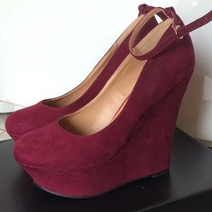 JustFab Else Burgundy Faux Suede Wedges